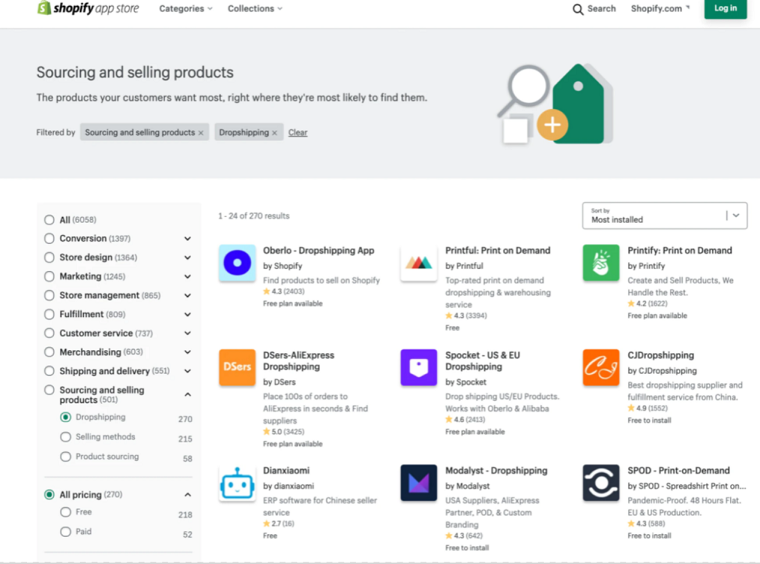 App store - Shopify