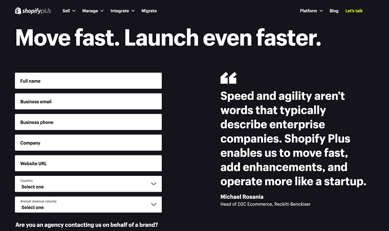 Move fast,launch fast - Shopify Plus