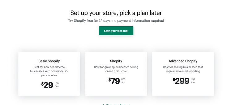 Plans - Shopify