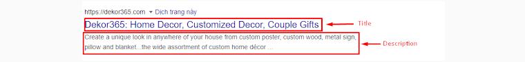 title and description tags