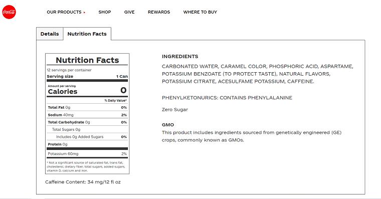 Coca-Cola®  Zero Sugar Nutrition Facts