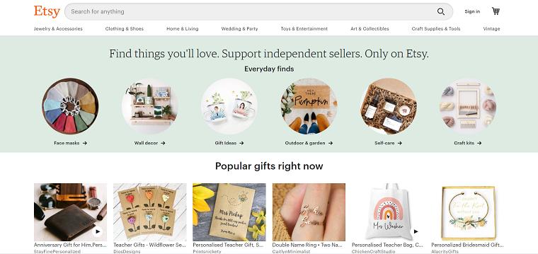 Etsy Homepage - DSers