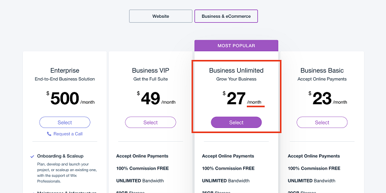 Wix-Pricing-Plans